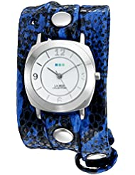 La Mer Collections Womens La Mer Collections Womens Electric Blue Snake Silver Odyssey Wrap Watch Quartz Two...
