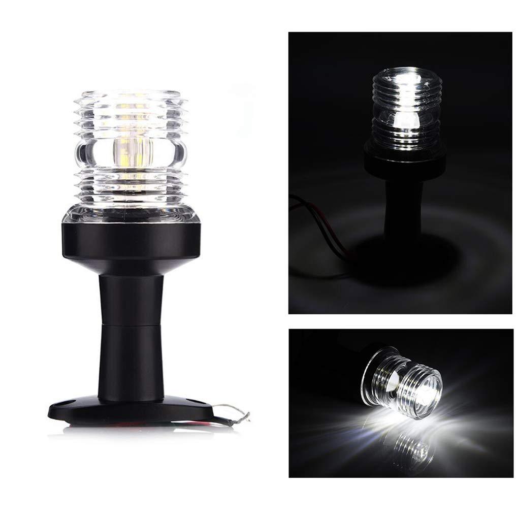 Bomcomi 5 Pulgadas Ancla del Barco de popa Pie de navegaci/ón Pedestal de luz Blanca de LED de 360 Grados 12V 3W LED