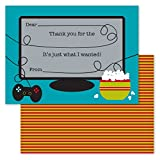 Gamer Kids Thank You Note Card Pack - Set of 20 fill in the blank cards with envelopes