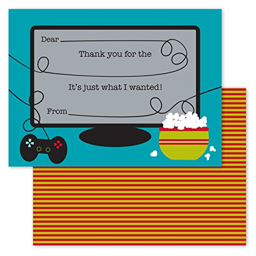 Gamer Kids Thank You Note Card Pack - Set of 20 fill in the blank cards with envelopes by Canopy Street