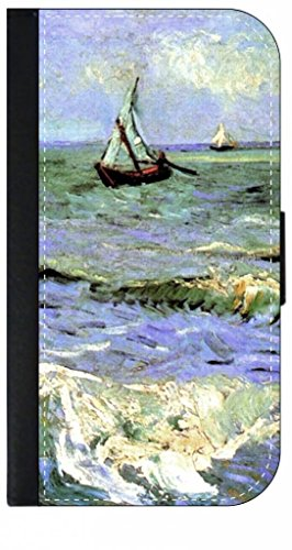 Saintes Maries Oil - Vincent Van Gogh's Seascape Near Les-Saintes-Maries-De-La-Mer- Iphone 5 Wallet Case with Closing Flip Cover and Credit Card Slots - Compatible with the Iphone 5 and 5S
