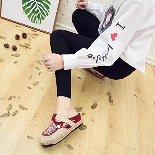 Brodé Ancien Femme Style Chinois Compensées Pantoufle Mules Manuel Sandales darkred SqtRx