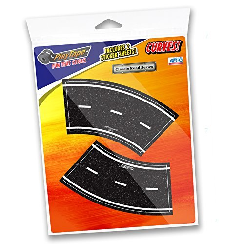 PlayTape Pack of 4 2 Tight Curves - Road Car Tape Great for Kids, Sticker Roll for Cars and Train Sets, Stick to Floors and Walls, Quick Cleanup, Children Toys Birthday Gift