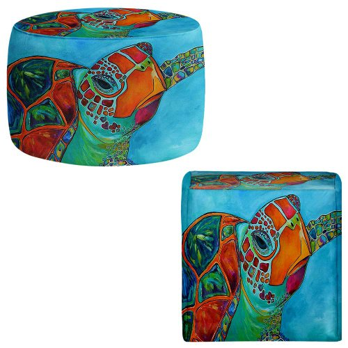 Foot Stools Poufs Chairs Round or Square from DiaNoche Designs by Patti Schermerhorn - Seaglass Sea Turtle (Ottoman Turtle)