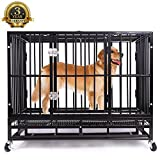 Heavy Duty Dog Crate Folding Large Metal Strong Dog Kennel Cage with Wheels and Tray