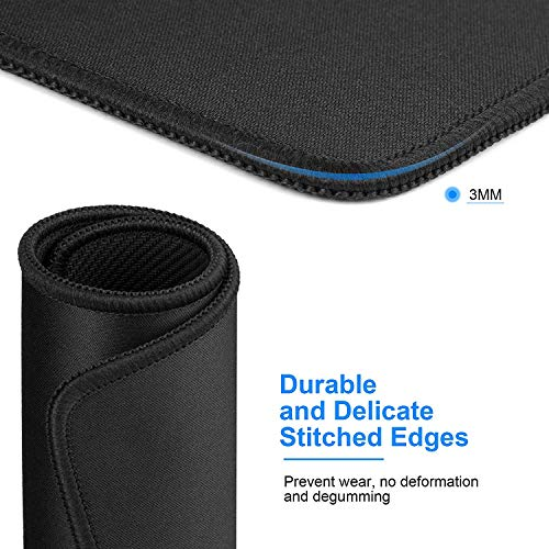 MROCO Mouse Pads Pack with Non-Slip Rubber Base, Premium-Textured and Waterproof Mousepads bulk with Stitched Edges, Mouse Pad for Computers, Laptop, Office & Home, 11 x 8.5 inches, 3mm, 3 Pack, Black