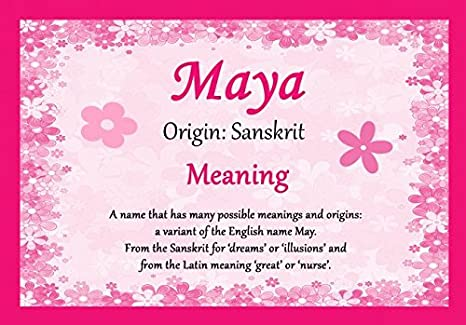 Amazon com: Maya Personalized Name Meaning Certificate