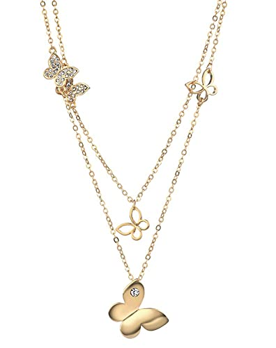 Amazoncom Yellow Gold Plated Double Strands Butterfly Necklace For