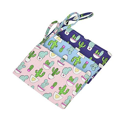 (Lacheln Canvas Coin ID Purses Cash Bag Money Wallet with Wristlet for Women Girls,3 Pcs/set,Cartoon Cactus)