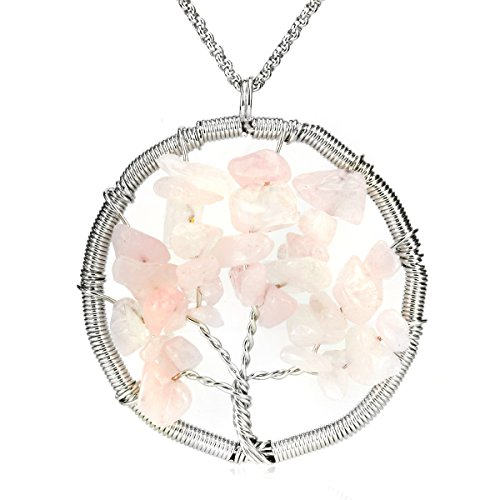 BEADNOVA Tree of Life Tumbled Rose Quartz Chip Beads Gemstone Pendant Necklace Healing Jewelry Gift For Her