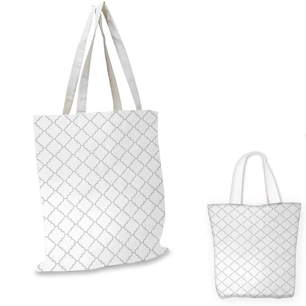 Grey canvas messenger bag Simple Monochrome Patterns Geometric Linked Forms on Plain Background Modern Figures canvas beach bag White Gray 14x16-11