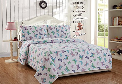 MK Home Mk Collection 3pc Twin Sheet Set Butterfly Purple Pink Turquoise Green Girls/Teens New # Butterfly Sheet B