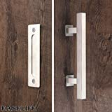 12'' Barn Door Hardware Handle Set with Pull and Flush,Stainless Steel Barn Door Hardware Handle