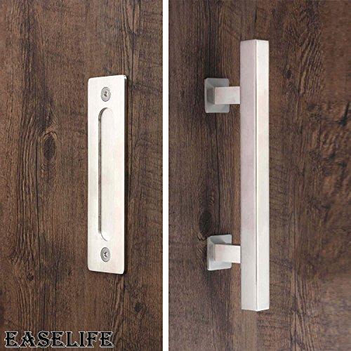 12u0027u0027 Barn Door Hardware Handle Set With Pull And Flush,Stainless Steel Barn