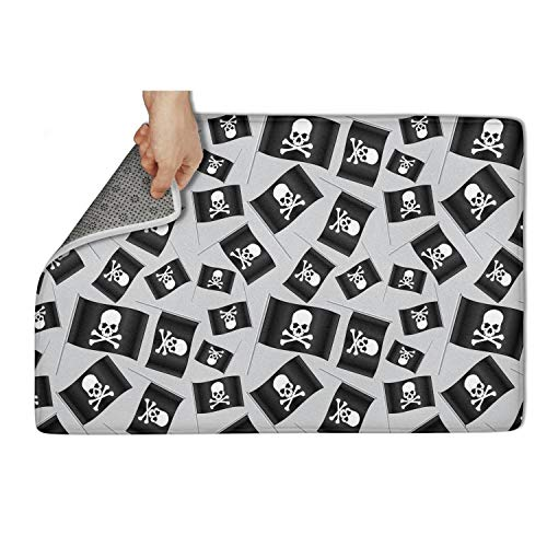 """NAIT HOME Black Small Pirate Flag with Skull and Bones Welcome 25""""x15.5"""" Water Absorbing Inside Absorbent mats Cool Plain"""