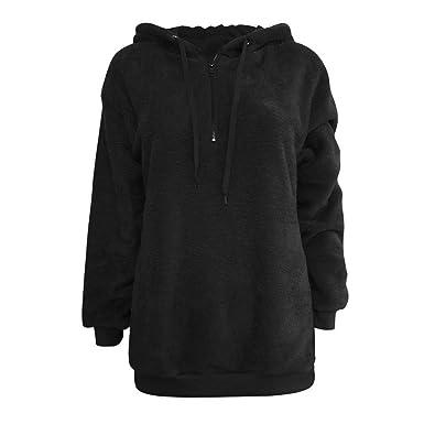 d606d440d Lazzboy Womens Sweatshirt Hoodie Long Sleeve Warm-up Faux Fur Zipper Pocket  Fleece Hooded: Amazon.co.uk: Clothing