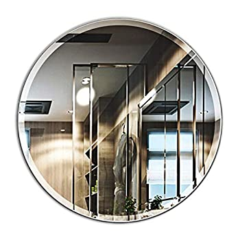 28-Inch Round Frameless Mirror Large Beveled Wall Mirror | Solid Core Wood Backing | Wall Mirror for Bathroom, Vanity, Living Room, Bedroom