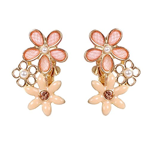 Women & Girls Personalized Five-leaf Clover Clip on Earrings Non Pierced Gold Plated Dangle