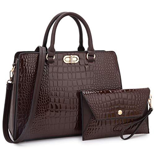 - Dasein Women Fashion Handbags Tote Purses Shoulder Bags Top Handle Satchel Purse Set 2pcs Croco Coffee