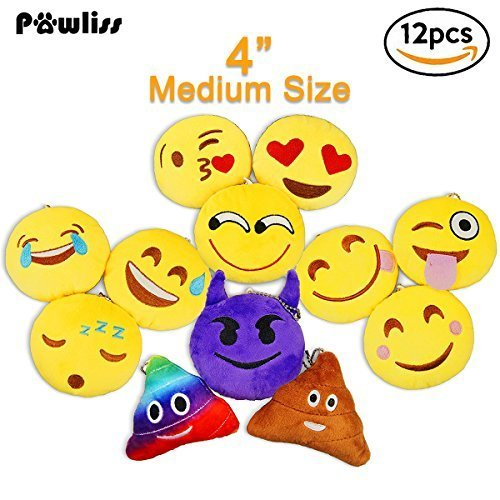 (Pawliss Emoji Mini Plush Toy Party Supplies Emoticon Throw Pillow Cushion 12 Pack)