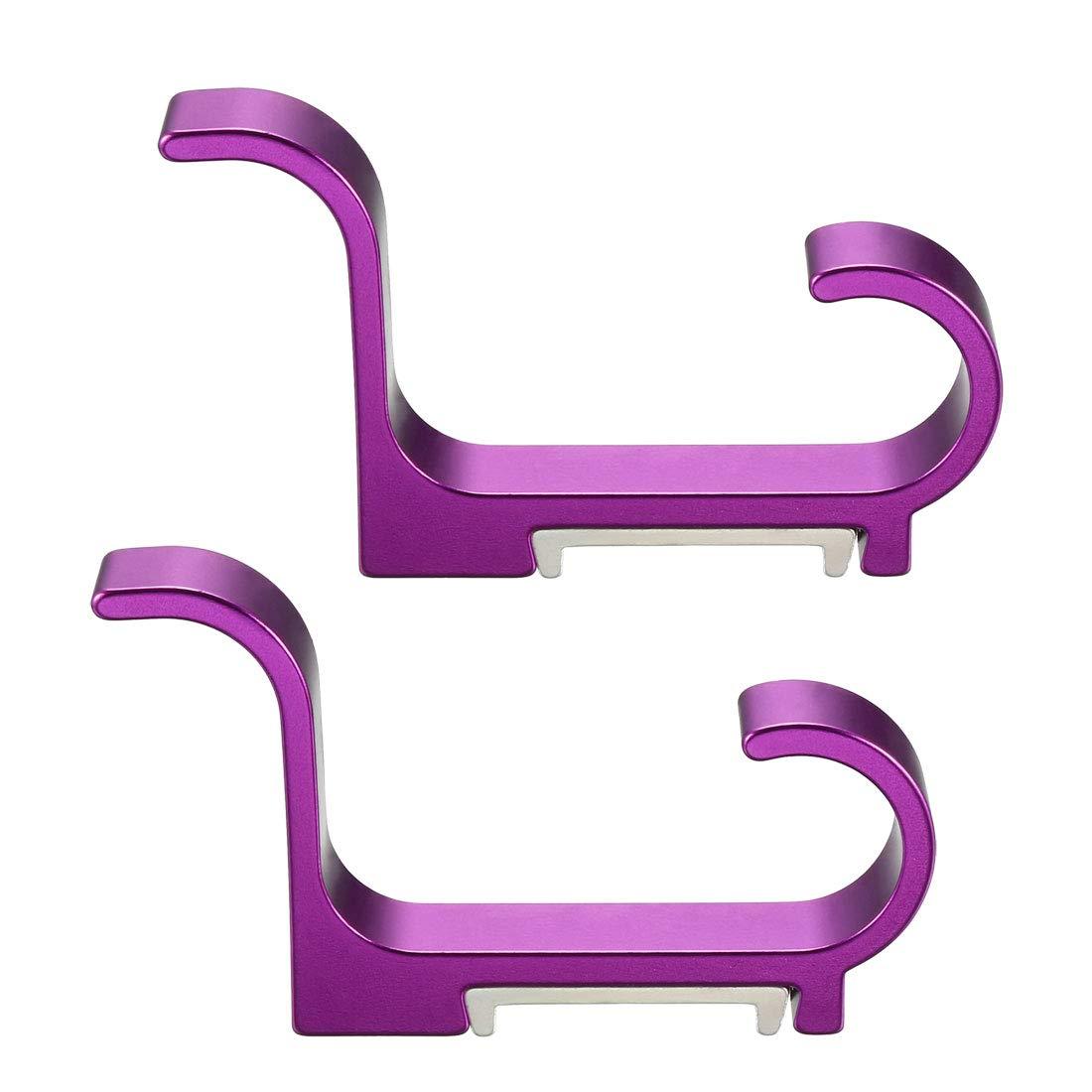 Juego de 2 ganchos para colgar toallas con tornillos color morado Sourcingmap aleaci/ón de aluminio