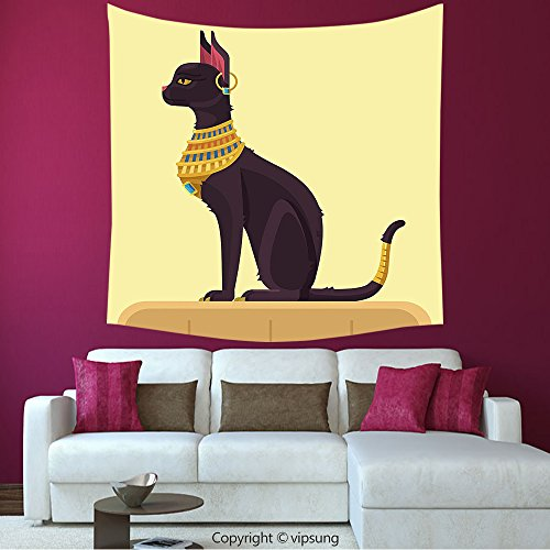 House Decor Square Tapestry-Egypt Decor Antique Ancient Old Time Mystic Cartoon Cat With Jewelry Image Light Yellow Mustard Plum_Wall Hanging For Bedroom Living Room Dorm