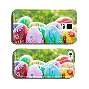 Hand painted Easter eggs on grass. Spring patterns art, unique. cell phone cover case Samsung S5