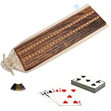 WE Games Deluxe Cribbage Set - Solid Walnut Wood with Inlay Sprint 3 Track Board with Brass Pegs, Deck of Cards & Canvas Storage Bag