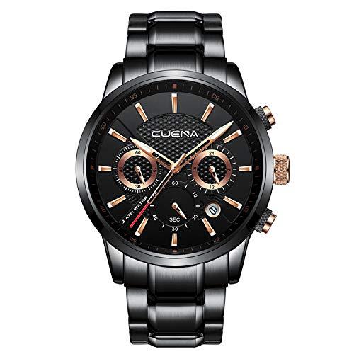 CUENA Men's Quartz Watch Waterproof Quartz Fashion Wrist Watch with Date Function Classic Business Stopwatch by CUENA
