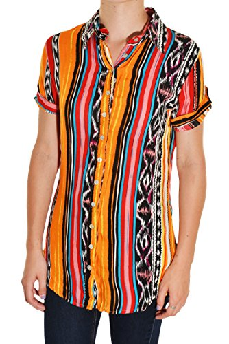 Ceres Tribal Print Button Shirt (Orange Red, (Tribal Button Down Shirt)