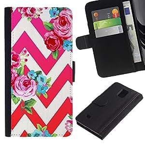 Paccase / Billetera de Cuero Caso del tirón Titular de la tarjeta Carcasa Funda para - rose petal red pink floral pattern chevron - Samsung Galaxy Note 4 SM-N910