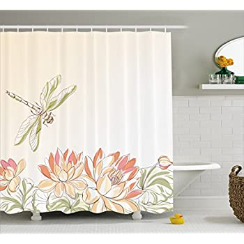 Ambesonne Dragonfly Shower Curtain Lotus Flower Field With Flying Oriental Blooms Artful Print