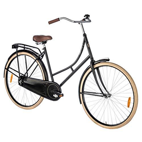 Grand 1888 Unisex fiets, Klassieke Oma fiets met comfortabel zadel, bagagedrager, reflectors, fietsstandaard en bel…