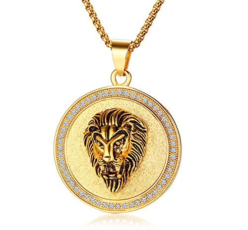 XUANPAI Stainless Steel Medallion Lion Head Zodiac of Leo Round Pandent Necklace with Tiny Crystal