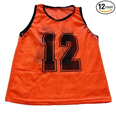 ae422ac5605 Image Unavailable. Image not available for. Color  Workoutz Numbered Youth  Orange Scrimmage Vest Set (12 Qty) Soccer Pinnies