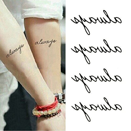 Oottati Small Cute Temporary Tattoo Words Quote Always Arm (Set of 2) (Quotes Temporary Tattoos)