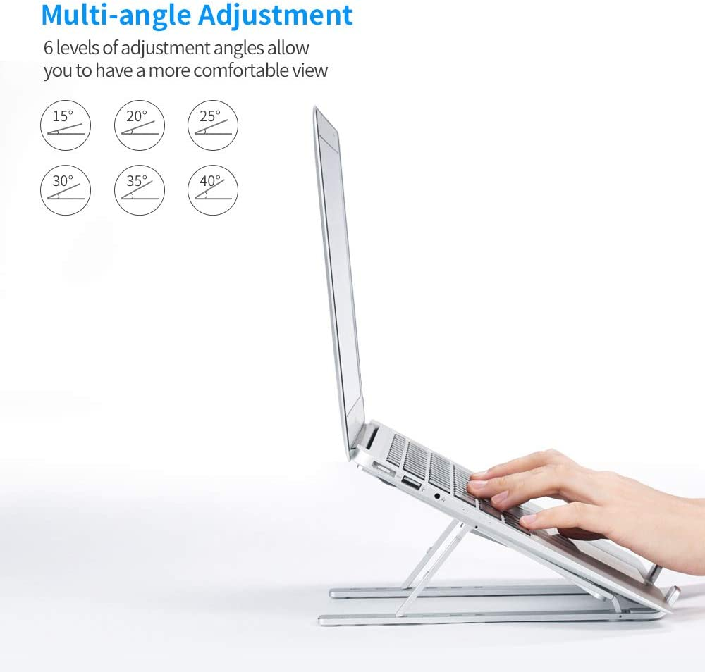"""Laptop Stand,Adjustable Laptop Holder Riser Computer Stand Aluminum 6 Angles Ventilated Cooling Notebook Stand Mount Compatible with MacBook Air Pro, Lenovo, Dell, More 10-15.6"""" Laptops(Sliver): Electronics"""