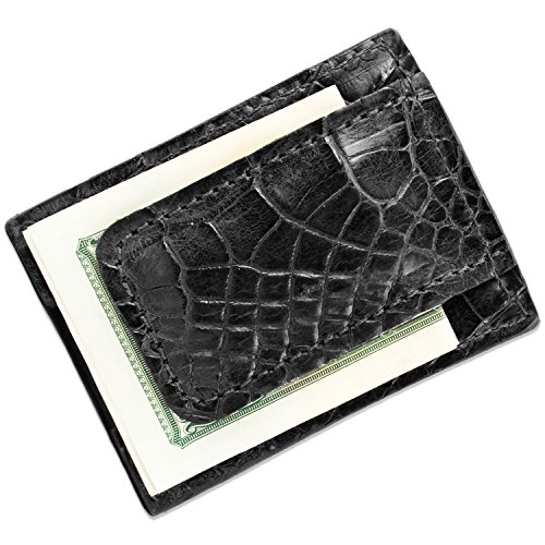 Genuine Alligator Leather Magnetic Money Clip Wallet (Black)