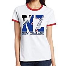 Women's New Zealand Flag 2016 NZ Fern Leaf Color Block T-shirt Red