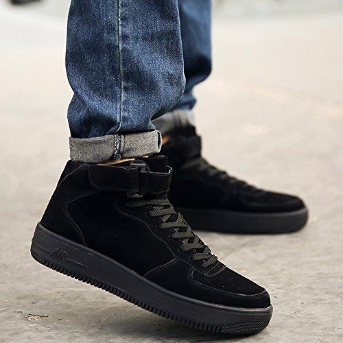 ROSEUNION Herren Mode High Top Leder Street Sneaker Trainer Schnüren Breathable Sport Freizeit Schuhe mit Klettverschluss Men Running Shoes Sports Style2-Schwarz