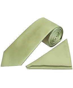 TIES R US Plain Sage Green Satin Classic Men's Tie and Pocket Square Set