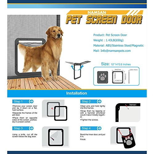 Namsan Pet Screen Door - Pet Window Screen Dog Door Screen Door for Cats Dogs