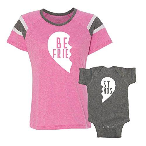 We Match!! - Best Friends (Two Halves of a Heart) - Matching Women's Football Slub T-Shirt & Baby Bodysuit Set (NB Granite Bodysuit, Women's Fanatic 2XL, Pink, White Print)