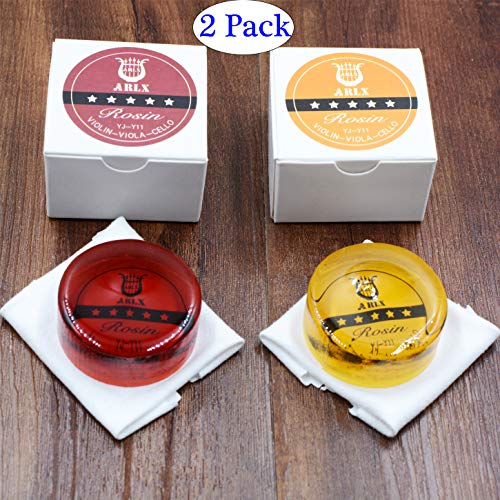 Rosin Violin Rosin Light Low Dust Rosin 2 Pack for Bows for Violin Viola and Cello(1Yellow+1Red)