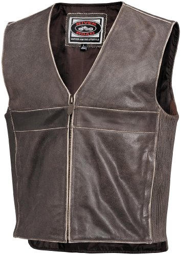 River Road Drifter Leather Vest - 40/Brown