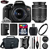 Canon EOS Rebel T6i DSLR Camera + Canon 18-55mm IS STM Lens + 32GB Class 10 Memory Card + Canon EOS Shoulder Bag 100ES + 58mm UV Filter + Card Reader + Lens Cap Holder - International Version