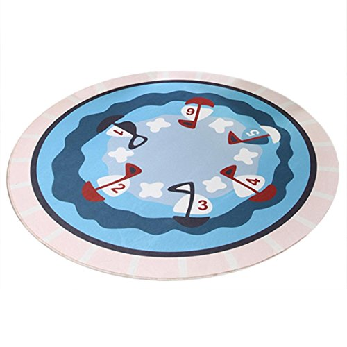 Multi Novelty Rug - Round Indoor Rugs,WM&MW Novelty 3D Print Washable Waterproof Mat Carpet for Hall Room Home Decor (Light Blue)