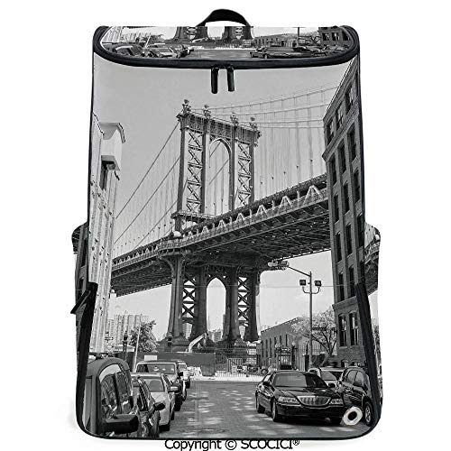 (SCOCICI 3D Printed Backpack,Brooklyn New York Usa Landmark Bridge Street with Cars Photo,Black White and Charcoal Grey,Funny Personalized Graphics)