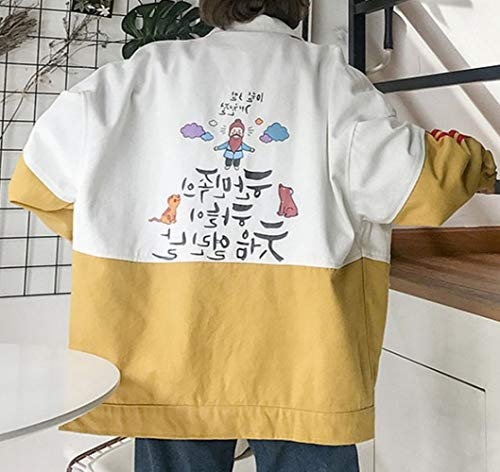 autunno primavera baseball e XXL giacca CWJ donne Giallo da vento cartoon college studente trolley cappotto Donne tendenza HwtwE5qOx