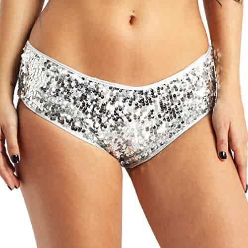 c25985105 FEESHOW Women s Glittery Sequins Boyshorts Panties Low Waisted Booty Shorts  Mini Pants Briefs Underwear